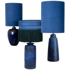 Set of 3 Large Table Lamps with New Silk Custom Made Lampshade René Houben 1960s