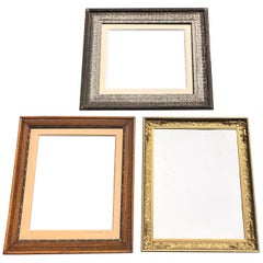 Set of 3 Large Wooden Frames with Silver, Gold and Natural Wood Colors