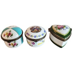 Set of 3 Limoges Ring or Snuff Boxes