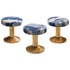 Set of 3 Low Swivel Barstools in Brass and Patterned Fabric