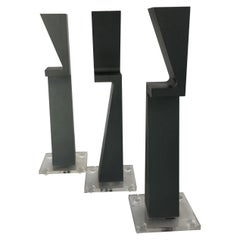 Set of 3 Machined Metal Candlestick Holder by Zelig Segal