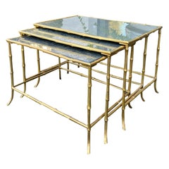 Set of 3 Maison Baguès Style Bronze Faux Bamboo Nesting Tables with Mirror Tops