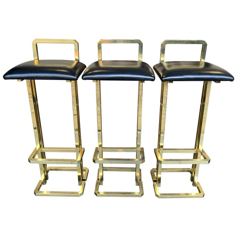 Set of 3 Maison Jansen Style Gilt Metal Stools with Black Leather Seat Pads For Sale