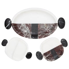 Set of 3 Marble Small Plates and Tray by Matteo Cibic