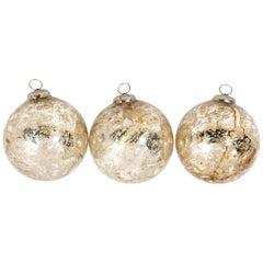 Set of 3 Mercury Glass Decorative Balls