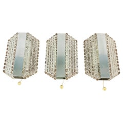 Set of 3 Metal and Glass Kaiser Midcentury Wall Lamps, 1960s, Germany