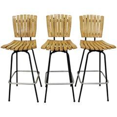 Set of 3 Midcentury Danish Modern Arthur Umanoff Style Swivel Slat Bar Stools
