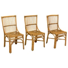 Set of 3 Mid-Century Modern Bambu and Rattan Dining Chairs, circa 1960
