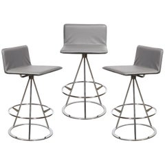 Set of 3 Mid-Century Modern Chrome and Gray Leather Geometric Swivel Bar Stools