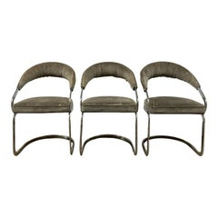 Set of 3 Mid-Century Modern Chrome Cantilever Upholstered Chairs