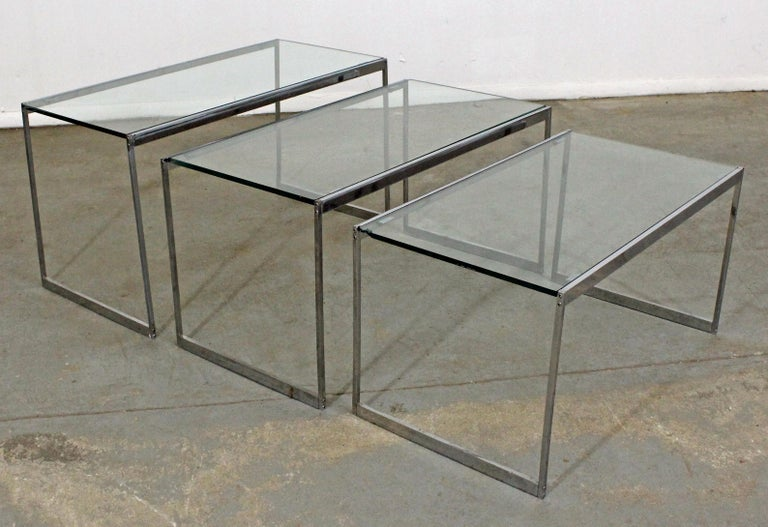 Incredible Set Of 3 Mid Century Modern Chrome And Glass Top Nesting End Tables Download Free Architecture Designs Grimeyleaguecom