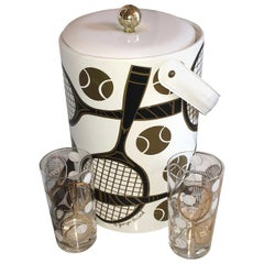 S/3 Georges Briard White, Gold, Black & Copper Tennis Ice Bucket, Lid & Glasses