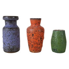 "Set of 3 Mid-Century Modern ""West-Germany"" Ceramic Vases, European Design, 1950s"