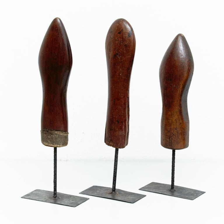 Mid-20th Century Set of 3 Mid-Century Modern Wood and Metal Sculptures, circa 1950 For Sale