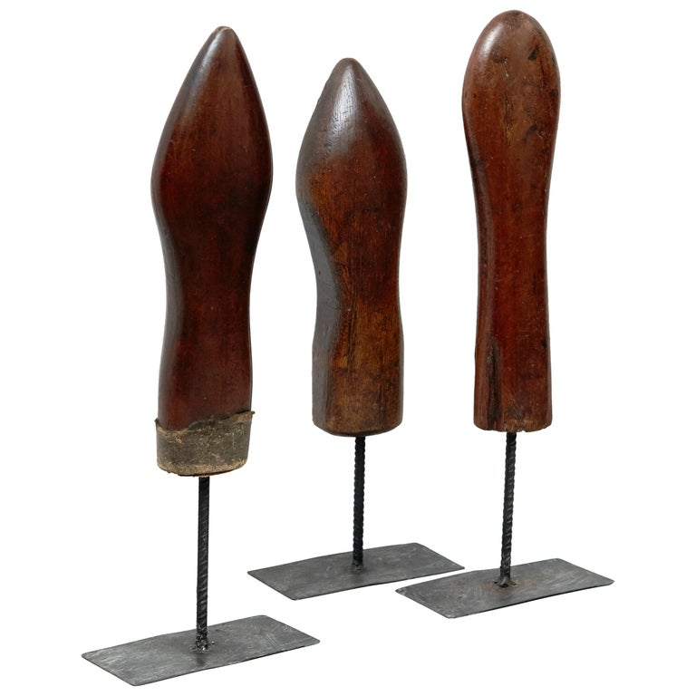 Set of 3 Mid-Century Modern Wood and Metal Sculptures, circa 1950 For Sale