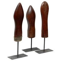 Set of 3 Mid-Century Modern Wood and Metal Sculptures, circa 1950