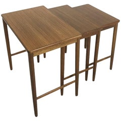 Set of 3 Midcentury Nesting Tables in Walnut by Opal Mobel, Germany, 1960