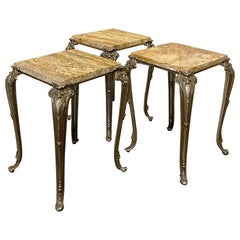 Set of 3 Midcentury Onyx and Brass Lamp Tables
