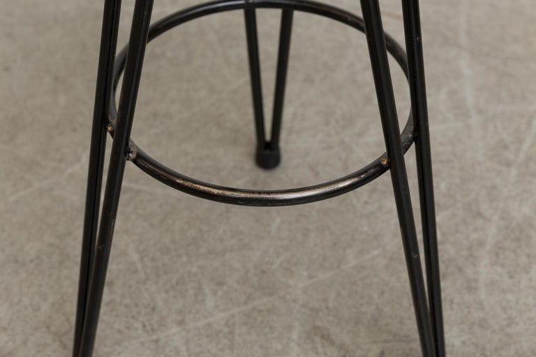 Set of 3 Midcentury Rattan Bar Stools In Good Condition For Sale In Los Angeles, CA