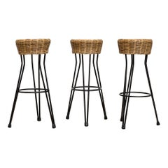 Set of 3 Midcentury Rattan Bar Stools