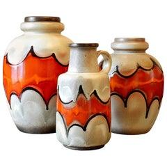 Set of 3 Midcentury Batman Ceramic Floor Vases, Germany Late 1960s Possibly Lamp
