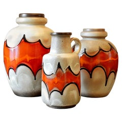 Set of 3 Midcentury Ceramic Floor Vases, Germany, Late 1960s, Possibly Lamp