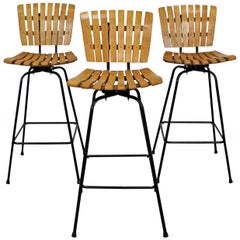 Set of 3 Midcentury Danish Modern Arthur Umanoff Swivel Slat Bar Stools
