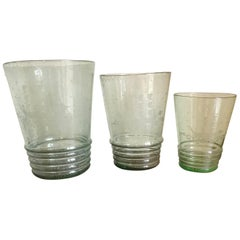 Set of 3 Midcentury Etched Glass Vases