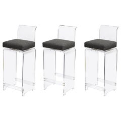 Set of 3 Midcentury Lucite Swiveling Bar Stools with Textural Gray Boucle Fabric
