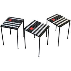 Set of 3 Midcentury Modern Black and White Mosaic Tile Stacking or Side Tables