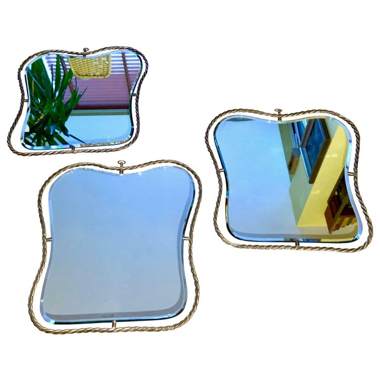 Set of 3 Midcentury Vintage Italian Brass Mirrors, circa 1950s In Good Condition In London, GB