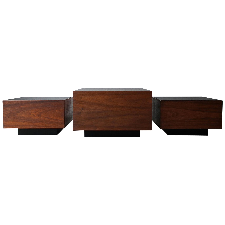 Set of 3 Midcentury Walnut Cube Tables