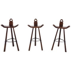Set of 3 Midcentury Wooden Brutalist Spanish Bar Stools