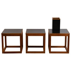 Set of 3 Minimal Teak and Laminate Cube Tables in the Style of Donald Judd