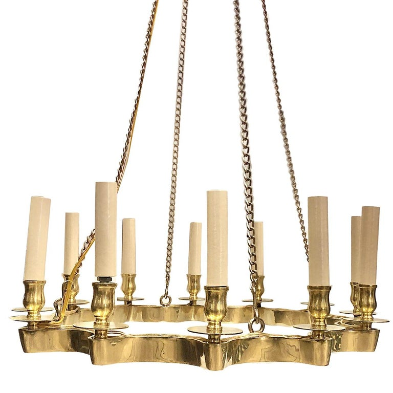 French Set of 3 Moderne Star Shaped Gilt Chandeliers, Sold Individually For Sale