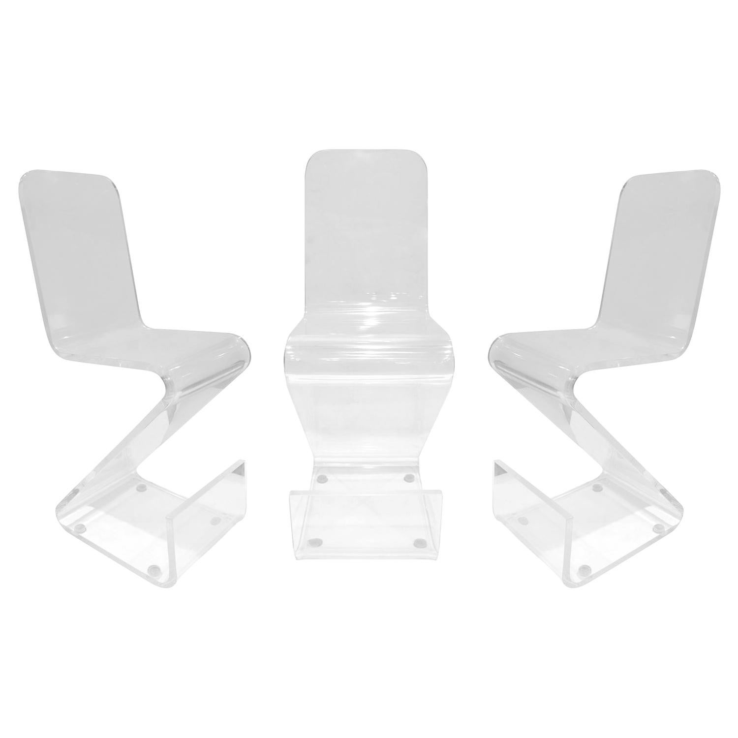 Set of 3 Molded Solid Lucite Barstools, 1970s