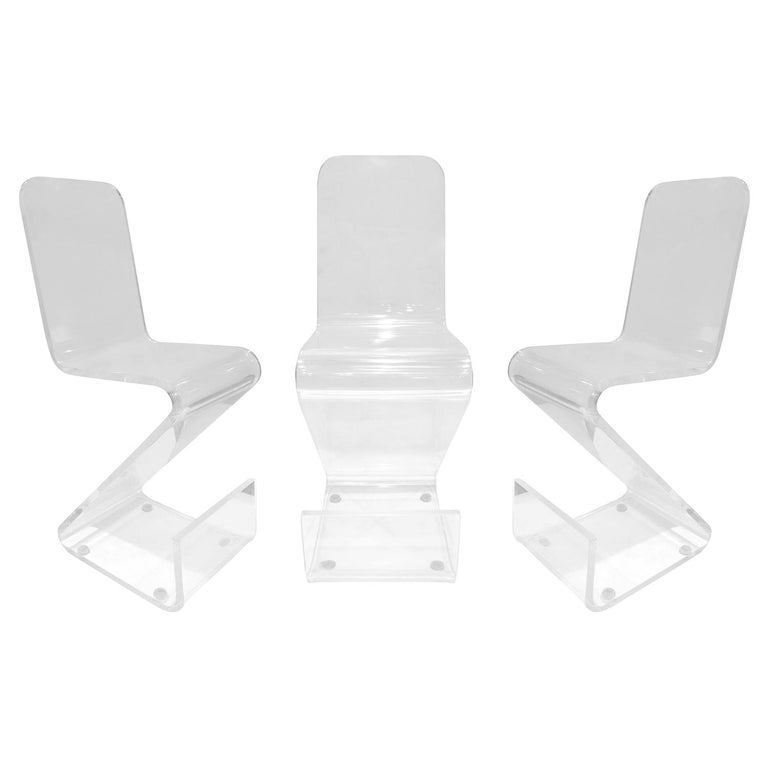 Set of 3 Molded Solid Lucite Barstools, 1970s For Sale