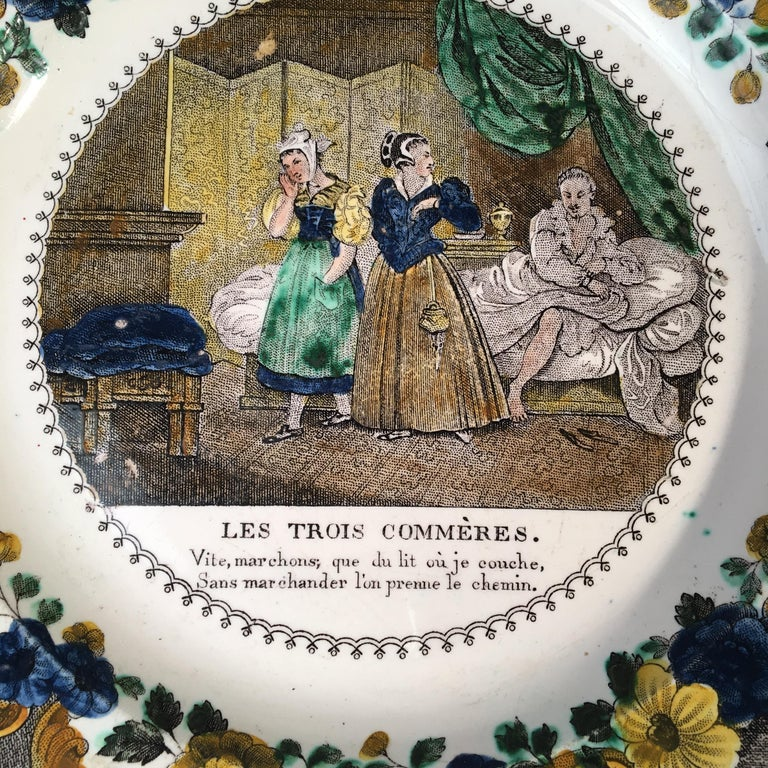 A set of 3 polychrome pictorial faience plates by Louis LeBeuf, from Montereau France, circa 1850.