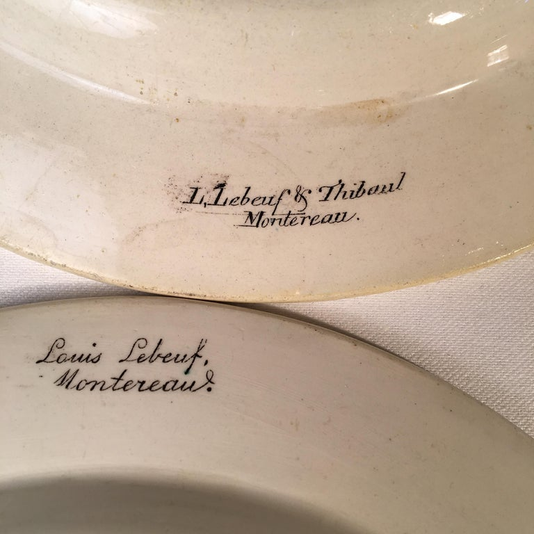Set of 3 Montereau Pictorial Plates by Louis LeBeuf In Good Condition In Doylestown, PA