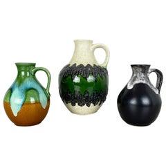 Set of 3 Multi-Color Fat Lava Op Art Pottery Vase Made Bay Ceramics, Germany