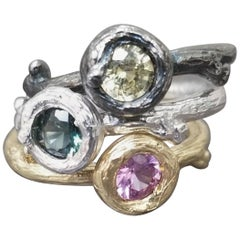 Set of 3 Multicolored Sapphire and Diamond Bark Stackable Rings