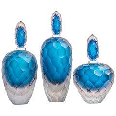 Set of 3 Murano Blown Glass Bottles Blue & Clear Battuto Technique Alberto Donà