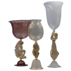 Set of 3 Murano Venetian Crystal Signoretto XL Glass Jars or Vases