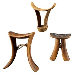 Set of 3 Neckrests from East Africa