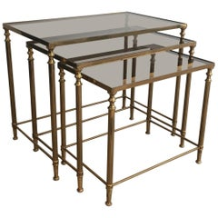 Set of 3 Neoclassical Brass Nesting Tables, in the Style of Maison Jansen