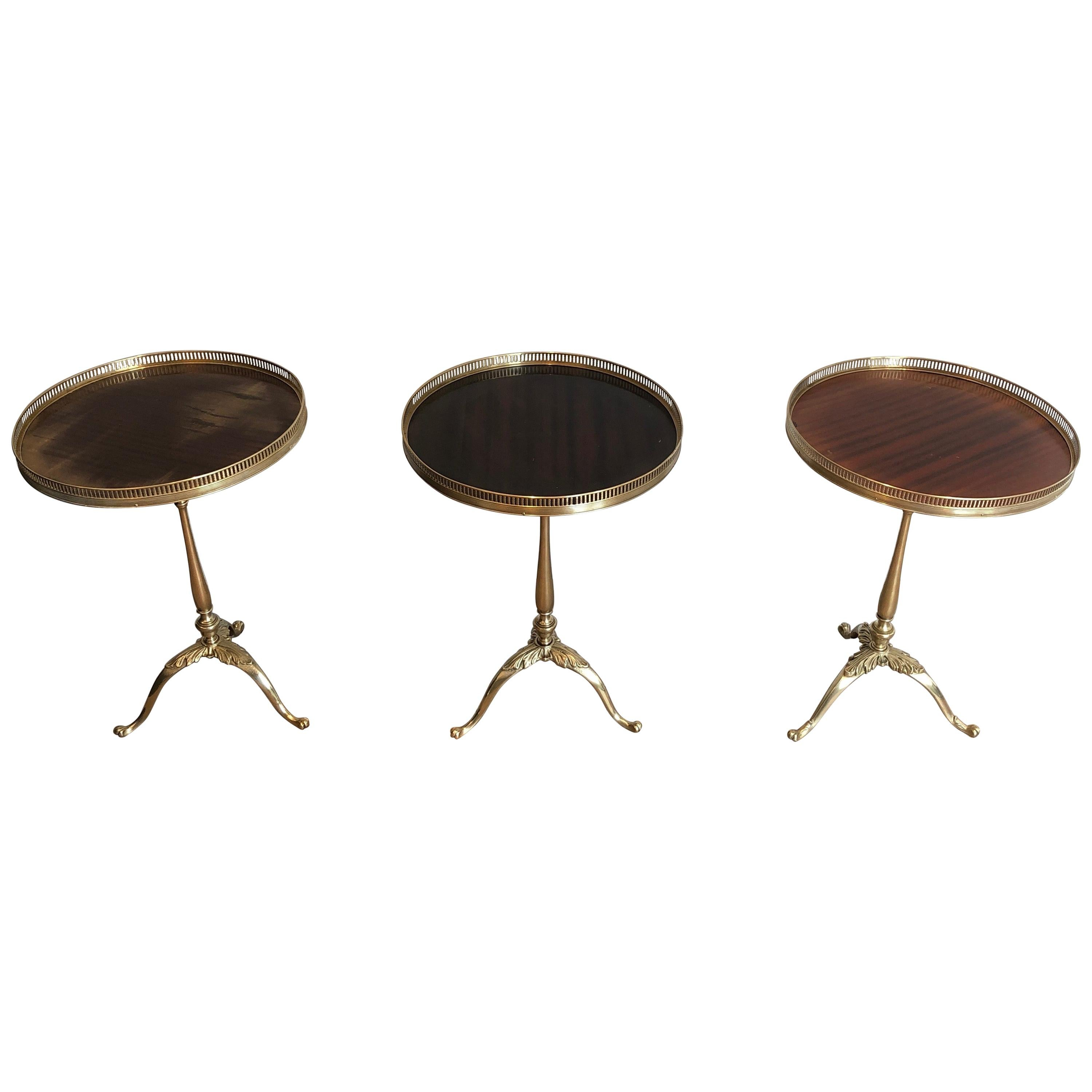 Set of 3 Neoclassical Style Brass and Mahogany Side Tables