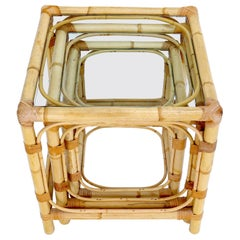 Set of 3 Nesting Bamboo Side End Tables