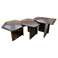 Set of 3 Nesting Coffee Tables in Cipolin Marble