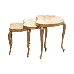 Set of 3 Nesting Onyx, Brass Kidney Shaped Coffee Side Tables, Italy, 1970s