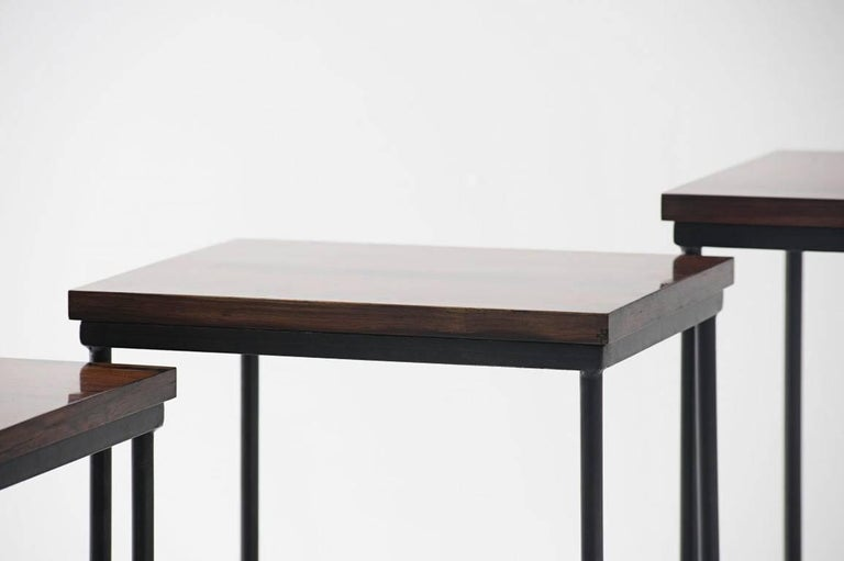 Modern Set of Three Nesting Tables by Geraldo de Barros, Brazil, 1955 For Sale